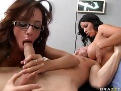 Patient fucks a pair of big tits brunette sluts tubes