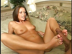 Footjob arouses him and her pussy feels good tubes