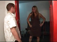 Shemale in pretty dress gives him a blowjob tubes