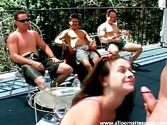 Teen gives blowjob as guys watch outdoors tubes