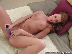 Babe fucking her tight vagina with purple dildo tubes