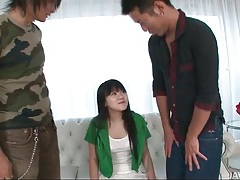 Cute teen with perky tits fondled by two guys tubes