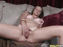 Stripping from tight dress to masturbate her pussy tubes