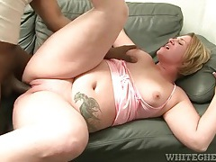 Big black cock fucks a fatty in her shaved pussy tubes