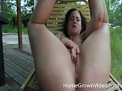 Hot girl with a cun masturbates pussy outdoors tubes