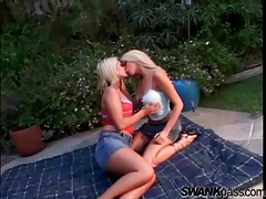 Cute blonde girls kissing and playing outdoors tubes