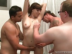 Three older guys blown by slutty girl tubes