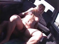Arousing car sex with a blonde shemale tubes
