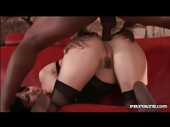 Black cock blasts her asshole in a lingerie video tubes