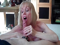 Dirty talking mature gives his cock pleasure tubes