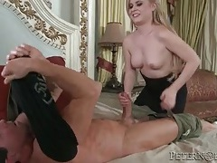 Strapless dress on a blonde sucking big cock tubes