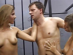 Lucky prisoner fucked by two female guardians tubes