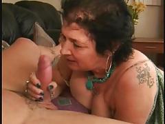 Granny sucks a dong and takes a facial tubes