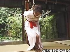 Japanese babe tied with her kimono shibari tubes