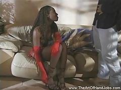 Ebony handjob from a nice girl tubes