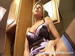 His housewife in lingerie sucks cock in kitchen tubes