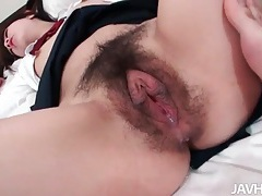Schoolgirl in pigtails takes creampie in cunt tubes
