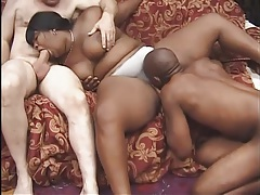 Fat black girl with belly rolls fucked in threesome tubes