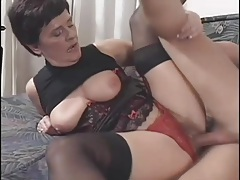 Old lady dressed in lingerie fucked in her pussy tubes
