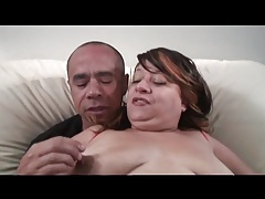 Fat old babe sucks on his thick cock tubes