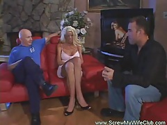 Swinger wife fucks while hubby watched tubes