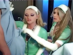Blonde nurses in latex lingerie and gloves fucking tubes