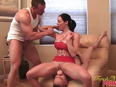 Muscle pornstar fucks and sucks two guys 1 of 3 tubes