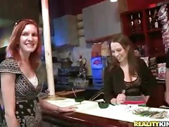 Bartender fondles amateur and gets a bj tube