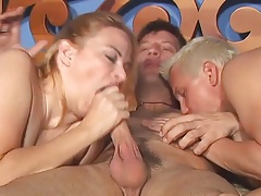 Busty milf and two guys in bisexual threesome tubes