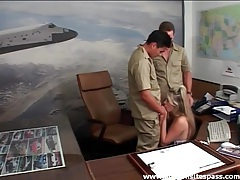 Pierced pussy slut fucked in office threesome tubes
