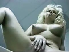 Masturbating blonde in retro office porn video tubes