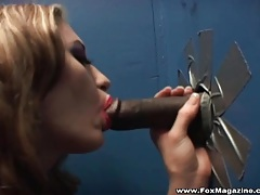 Lipstick and lingerie hottie sucks dick at gloryhole tubes