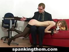 Skinny secretary spanked tubes