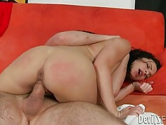 Tattooed girl fucked hard in her hairy cunt tubes