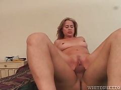 Perky tits bounce as slut sits on top tubes