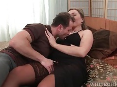 High lace top stockings on cocksucking milf tubes