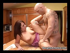Housewife on kitchen counter fucked in her pussy tubes