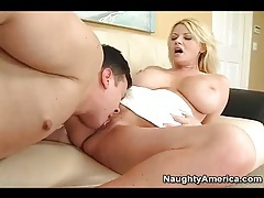 Busty blonde sucks a dick and gets licked tubes