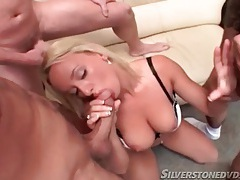 Blonde takes out her big tits and sucks on dicks tubes