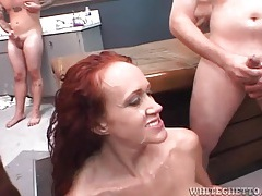 Bukkake mess for a redhead milf slut tubes