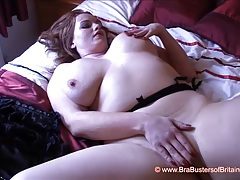 Fiery redhead gets out big juicy tits and masturbates tubes