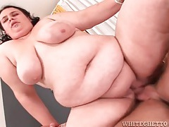 Fatty fucked in her plump pussy and moaning tubes