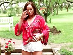 Beautiful outdoor striptease with silvia saint tubes
