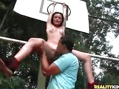 Blown by a slim cutie on the basketball court tubes