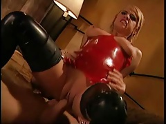 Kinky latex girl wants him in her pussy and ass tubes