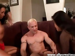 Dark haired beauties suck his cock lustily tubes