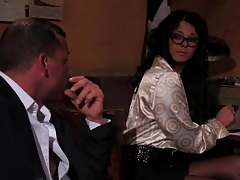 Secretary in glasses gives a good blowjob tube