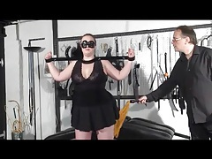Bbw in bondage gets flogged on her fat ass tubes