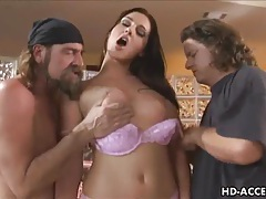 Sexy brunette takes on two cocks and takes one anal tubes
