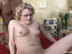 White nerd in glasses double penetrated tubes